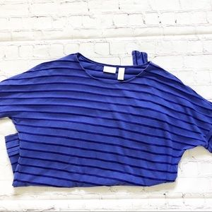 Chico's Blue Striped Short Sleeve Blouse